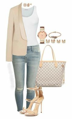 A fashion look from February 2016 featuring American Vintage tops, Vanessa Bruno blazers en Current/Elliott jeans. Browse and shop related looks. Classy Outfits, Chic Outfits, Fall Outfits, Fashion Outfits, Womens Fashion, Fashion Trends, Dress Outfits, 30 Outfits, Work Dresses