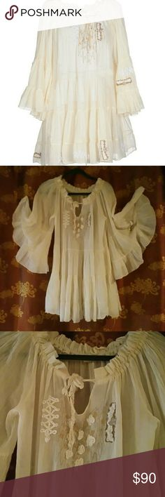 Anjuna 100%  Pheasant/ Boho Style Cotton Top Sz- S Awesome!!!! You'd wanna add this to your wardrobe for sure....This beautiful 3/4 ruffled sleeve top is simply a top notch fashion piece... A drawstring neck and rope & metallic thread detail. Anjuna Tops Blouses