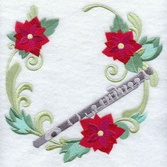 Christmas Music - Flute Wreath design (J2021) from www.Emblibrary.com