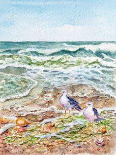 watercolor sea gulls for sale