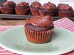 Healthier alternative for kids bday party.  Gluten Free Dairy Free Chocolate Zucchini Cupcakes | SugarFreeMom.com