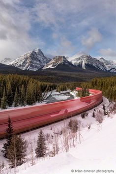 Train + Canadian Rockies + long exposure