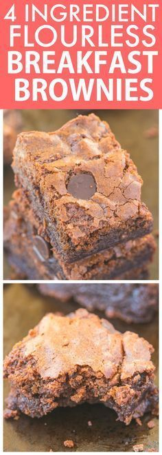 Healthy 4 Ingredient Flourless BREAKFAST BROWNIES- Moist, gooey and secretly healthy, these super fudgy brownies have NO flour, NO grains, NO sugar and NO butter! {vegan, gluten free, paleo recipe}- thebigmansworld.com
