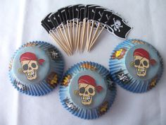 24 Pirate skeleton cupcake cups - cupcake liners - pirate cupcake cups - baking supplies - birthday party cupcakes