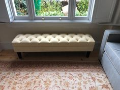 Button top footstool 157 cm x 38 cm with 20 cm dark wood tapered legs. Covered in Linwood beeswax. Bespoke Sofas, Cushion Filling, Dark Wood, Sofa Bed, Cribs, British, Cushions, Legs