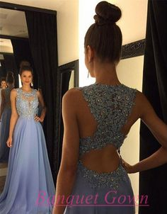 2016 Modest Open Backs Prom Dresses A Line Backless Chiffon Long Modest Lace Evening Gowns - Thumbnail 1