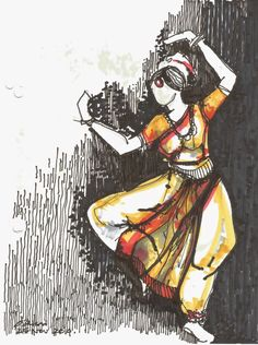 Urban Sketchers: Classical Dance from Bangalore, India: Dance Paintings, Indian Art Paintings, Abstract Paintings, Oil Paintings, Abstract Oil, Dancing Drawings, Art Drawings Sketches, Drawing Art, Bts Design Graphique