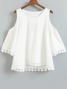 Hollow Lace Splice 3/4 Sleeve Blouse - WHITE L Mobile
