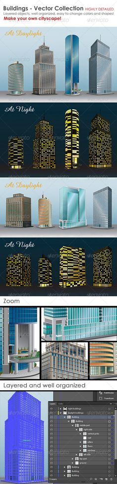 Buildings - Vector Collection  #GraphicRiver         It's a set of highly detailed vector buildings, totally editable. You can customize colors, position and shape of all elements. All objects are layered and well organized. Make your own cityscape!   Enjoy and please rate it if you like.  See more interesting files:                 Created: 1August13 GraphicsFilesIncluded: VectorEPS Layered: Yes MinimumAdobeCSVersion: CS Tags:
