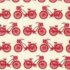 Avalon Birch Fabric - Red Bikes!