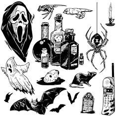 Entertainment Weekly Halloween Issue - Entertainment Weekly Halloween Issue on Behance - Tattoo Sketches, Tattoo Drawings, Body Art Tattoos, New Tattoos, Small Tattoos, Retro Tattoos, Entertainment Weekly, Tattoo Dotwork, Tattoo Designs