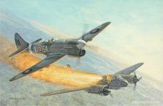 RAF Hawker Typhoon downs a German Luftwaffe Ju 88 Nightfighter of NJG 1.BFD