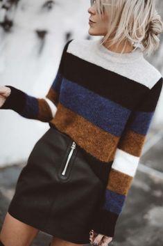 stripes and mini skirt