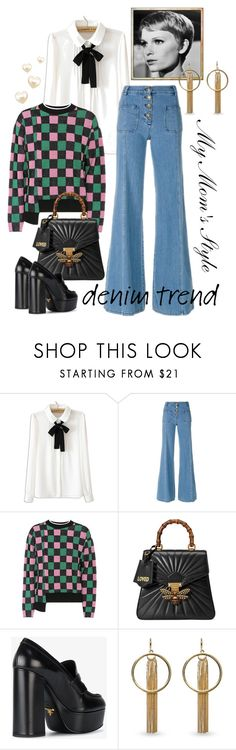 """""""Wide Leg Jeans - My Mom's Style"""" by giovanina-001 ❤ liked on Polyvore featuring WithChic, Chloé, Marni, Gucci, Prada, Vince Camuto, denimtrend and widelegjeans"""