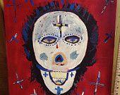 16 x 20 original art sugar skull ooak  red blood tears