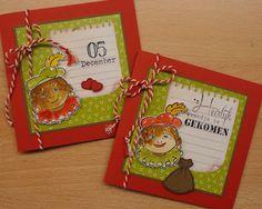 Sinterklaas kaarten met stempel afdrukken van zwarte Piet.