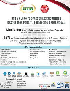 15% de descuento para los empleados de #Claro  aplica para pre grado, maestrías y para CPN Bachillerato por Madurez #UTH #Honduras