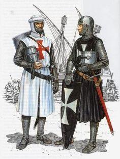 Caballero templario con un caballero teutónico.