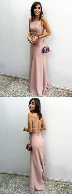 Prom Dresses, Pink Prom Dresses, Long Prom Dresses, Silk-like Satin Prom Dresses Square Neckline, Sheath/Column Prom Dresses Modest #partydresses #pink