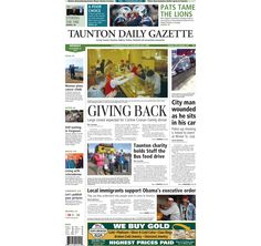 The front page of the Taunton Daily Gazette for Monday, Nov. 24, 2014.