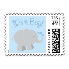 Elephant Baby Shower Stamps | Blue and Gray