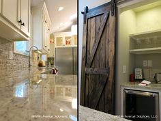 Love the brick backspash. From the Property Brothers episode  Sandy & Susy's Kitchen with Industrial Faucet and Wine Nook