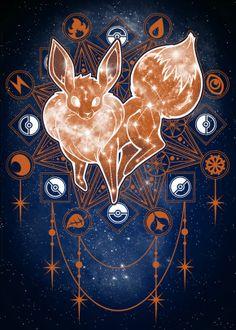 Starry Constellations Space poster prints by Venetia Jackson - Starry Constellations by Venetia Jackson Pokemon Eevee Evolutions, O Pokemon, Pokemon Memes, Pokemon Fan Art, Cute Animal Drawings, Cute Drawings, Pokemon Mignon, Cute Pokemon Wallpaper, Eevee Wallpaper