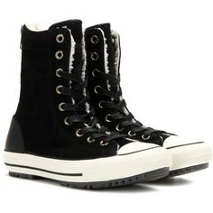 Converse Chuck Taylor High-Top Sneakers ($105) ❤ liked on Polyvore featuring shoes, sneakers, black, hi tops, converse sneakers, converse trainers, high top trainers and black shoes