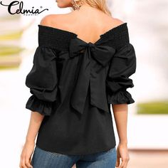 Celmia 6 Colors New High Quality Women Off Shoulder Ruffle Bow Tops Slash Neck Long Sleeve Shirts Sexy Blouses Blusas Plus Size #Affiliate