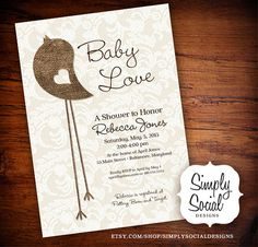 Burlap and Lace Little Bird Baby Shower Invitation Rustic Chic