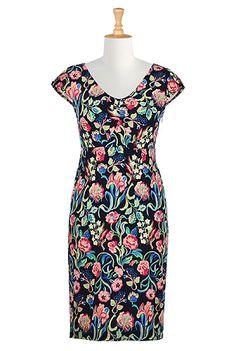 I <3 this Floral print jersey knit sheath dress from eShakti