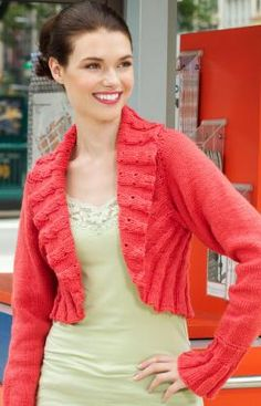 Ruffle Shrug Knitting Pattern I WANT ONE BUT A LIL LONGER ON THE BOTTOM @ Rebecca Charles  pleasee