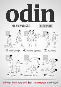 Odin Workout / Works: quads, lateral abdominals, core stability, glutes, lower abs, abs, shoulders, triceps, biceps