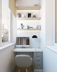 Stylish Apartment Balcony Decorating Ideas On A Budget 08 Tiny Home Office, Small Home Offices, Home Office Space, Home Office Design, Home Office Decor, Small Apartments, Small Spaces, Small Office, Office Table