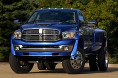 Beautiful shiny blue Dodge Ram Duallie