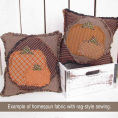 Autumn Pumpkin and Leaf Ragged Pillow Pattern - Forever Free! Pumpkin Pillows, Fall Pillows, Burlap Pillows, Fall Projects, Easy Sewing Projects, Sewing Crafts, Sewing Ideas, Rag Quilt Patterns, Quilting Ideas