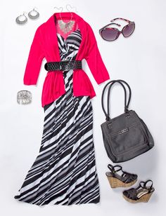 For a little more formal look this summer, pair your maxi dress with a chunky belt and bold shrug.  Add in some silver jewelry accents, and you're ready for work or play with a look that is sure to turn heads! #shopko