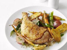 roast chicken with spring veggies:  one pan meal - roast chicken for 15 min while chopping veggies.  add veggies then return pan to oven for 20 more minutes.