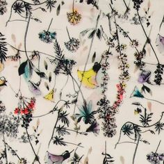 Woven satin nature with field flowers - Stoff & Stil Designer Wallpaper, Wallpaper Designs, Sewing Clothes, Spring Summer, Creative, Nature, Flowers, Cotton, Beautiful