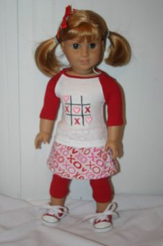 XOXOX 4 piece  outfit to fit your 18 inch by MiniMeDollyDivas, $25.00 want for valentines day. too cute!