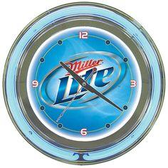 Trademark Commerce ML1400V Miller Lite 14 Inch Neon Wall Clock - Vapor Design