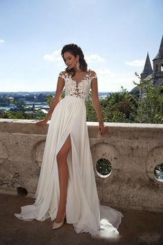 Spring Millanova 2016 Wedding Dresses with Capped Sleeves High Split Sexy Sheer Lace Appliqued A Line Beach Bridal Gowns Romantic Vestidos