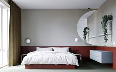 These modern homes showcase creative ways to use red decorations, red furniture, and even red accent walls - perfect inspiration for your next red interior palette. Red Bedroom Decor, White Bedroom, Modern Bedroom, Bedroom Ideas, Red Headboard, Red Bedding Sets, Upholstered Wall Panels, Monochrome Bedroom, Layout