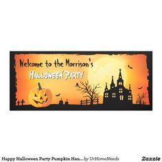happy halloween party pumpkin haunted house banner