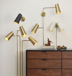 Cypress Double Swing Arm Sconce Plug-In Brushed Satin Brass with Satin White Shades A6013