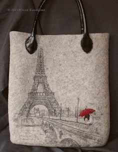 """Купить Сумка """"Город для двоих..."""" (Коллекция """"Романтика городо - шерсть, войлок, Валяние, сумка"""