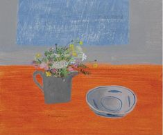 Elaine Pamphilon  meadow flowers and blue fish bowl  mxed media on wooden panel  50 x 60 cm