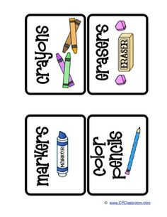 CLASSROOM ORGANIZATION LABELS School Supplies ($$, but she has her list, and that's what clipart is for)
