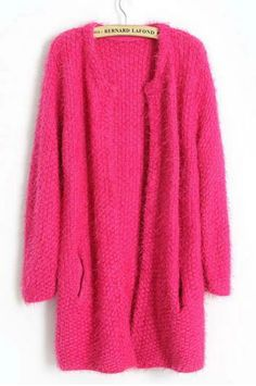 pink cardigan long sweater coat thick lady