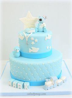 Boy Baptism Cake - A very sweet and blue boy baptism cake.